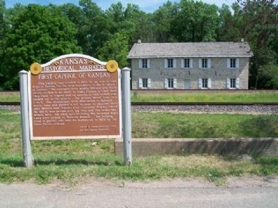 First Capitol of Kansas and Marker image. Click for full size.