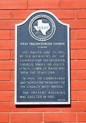First Presbyterian Church of Baird Marker image. Click for full size.