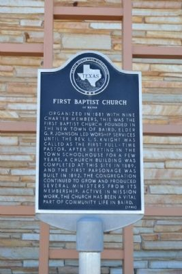 First Baptist Church of Baird Marker image. Click for full size.