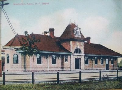 Postcard Photo on Manhattan's Union Pacific Depot - Revived Marker image. Click for full size.