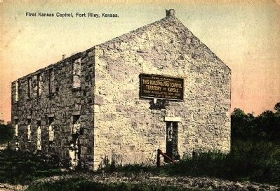 <i>First Kansas Capitol, Fort Riley, Kansas. </i> image. Click for full size.