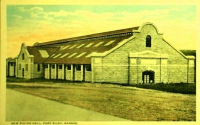<i>New Riding Hall, Fort Riley, Kansas.</i> image. Click for full size.