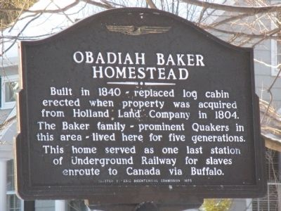 Obadiah Baker Homestead Marker image. Click for full size.