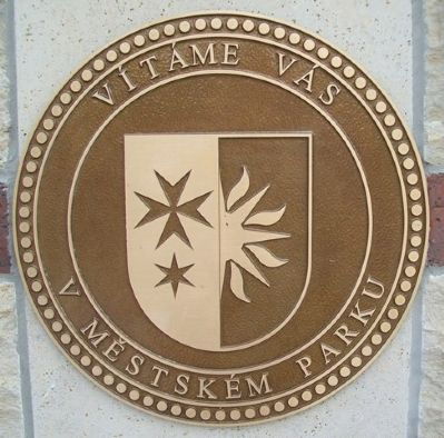 Dobřichovice Emblem at Partner City Flag Plaza image. Click for full size.
