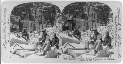 Quarrying granite - drilling preparatory to splitting, Concord, N.H. image. Click for full size.