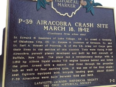 P-39 Airacobra Crash Site March 18, 1942 Marker image. Click for full size.
