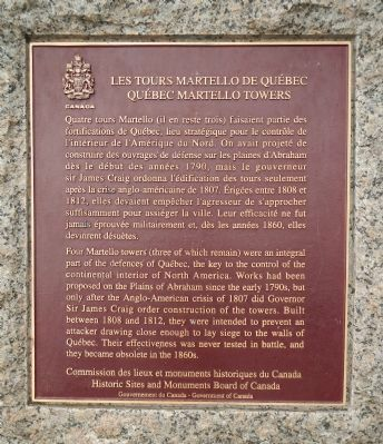 Québec Martello Towers Marker image. Click for full size.