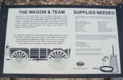 The Wagon & Team • Supplies Needed Marker image. Click for full size.
