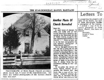 Old White Marsh Episcopal Church from Easton Star Democrat January 22, 1969 article image. Click for full size.