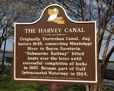 The Harvey Canal Marker image. Click for full size.