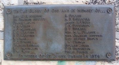 Founders of St. John's Parish in 1874 Marker image. Click for full size.