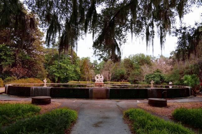 Brookgreen Plantation House Site, Now a Raised Pond and Fountain with Sculpture image. Click for full size.