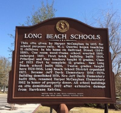 Long Beach Schools Marker image. Click for full size.