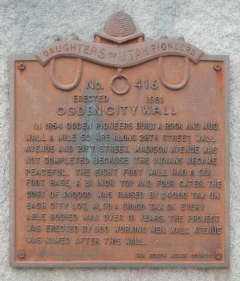 Ogden City Wall Marker image. Click for full size.