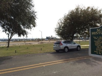 View of Gulf of Mexico and Highway 90 near marker. image. Click for full size.
