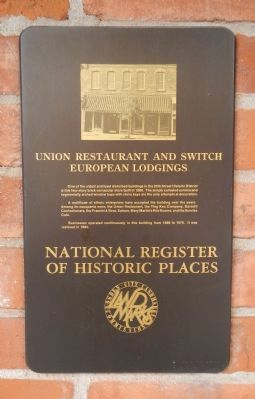 Union Restaurant and Switch European Lodgings Marker image. Click for full size.