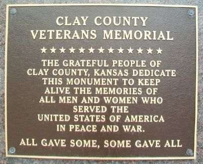 Clay County Veterans Memorial Marker image. Click for full size.