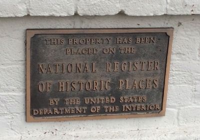 Plaque noting placement on National Register of Historic Places image. Click for full size.