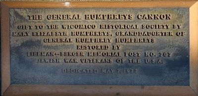 The General Humphreys Cannon Marker image. Click for full size.