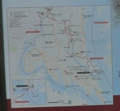 Close up of the map on the Perils along the Patuxent Marker image. Click for full size.