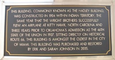 Hadley Building Marker image. Click for full size.