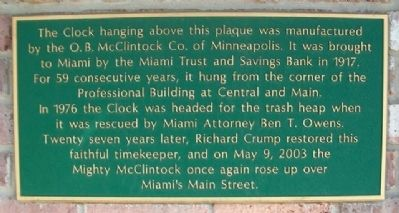 Miami Trust and Savings Bank Clock Marker image. Click for full size.