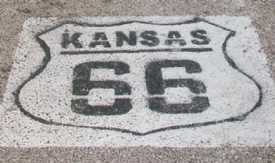 Route 66 Street Marker on Road at Marsh Rainbow Arch Bridge image. Click for full size.