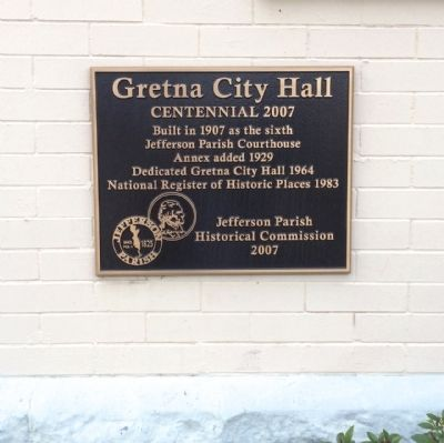 Gretna City Hall Marker image. Click for full size.