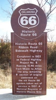 Historic Route 66 Ribbon Road - Sidewalk Highway Marker image. Click for full size.