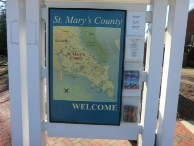 Map of St. Mary's County on the grounds of the Welcome Center image. Click for full size.