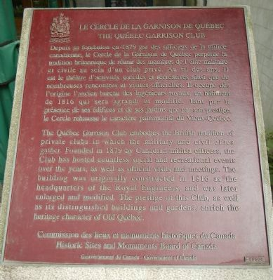 The Québec Garrison Club Marker image. Click for full size.