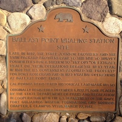 Ballast Point Whaling Station Site Marker image. Click for full size.