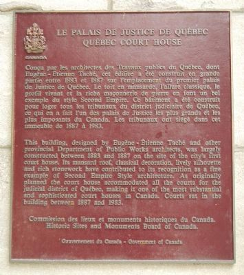 Québec Court House Marker image. Click for full size.