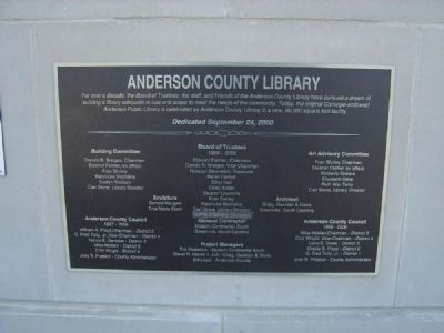 Anderson County Library Marker image. Click for full size.