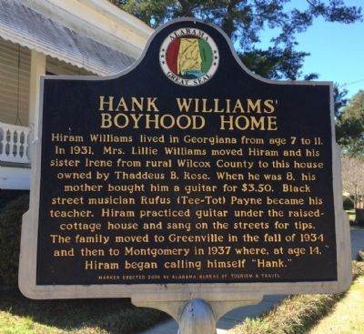 Hank Williams' Boyhood Home Marker image. Click for full size.