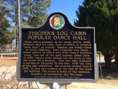 Thigpen's Log Cabin Popular Dance Hall Marker image. Click for full size.