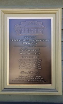 Marker noting renovation of depot. image. Click for full size.