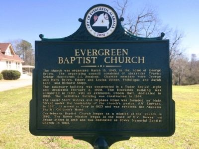 Evergreen Baptist Church Marker (Side 1) image. Click for full size.