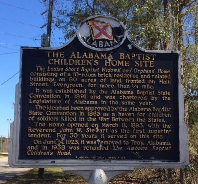 Alabama Baptist Children's Home Site Marker image. Click for full size.