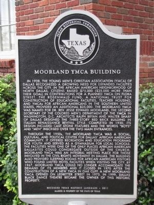 Moorland YMCA Building Texas Historical Marker image. Click for full size.