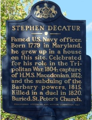 Stephen Decatur Marker image. Click for full size.