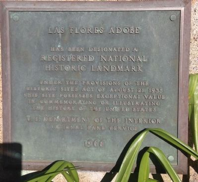 Las Flores Adobe National Historic Landmark Plaque image. Click for full size.