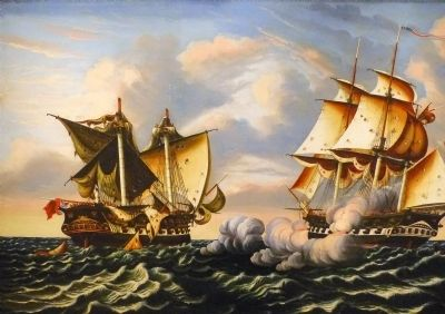 Capture of the H.B.M. Frigate Macedonian<br> by the U.S. Frigate United States, October 25, 1812 image. Click for full size.