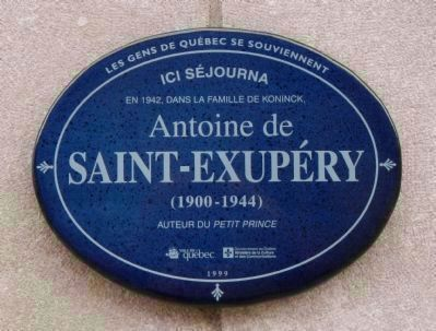 Antoine de Saint-Exupéry plaque image. Click for full size.