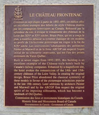 Le Château Frontenac Marker image. Click for full size.