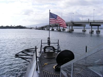 U.S.S. Bowfin (SS287) over looking Pearl Harbor image. Click for full size.