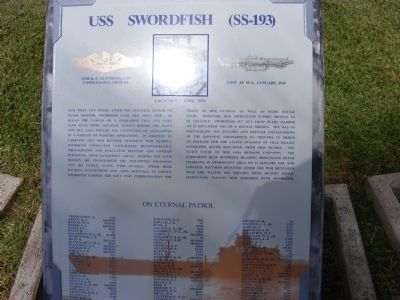 USS Swordfish (SS-193) Marker image. Click for full size.