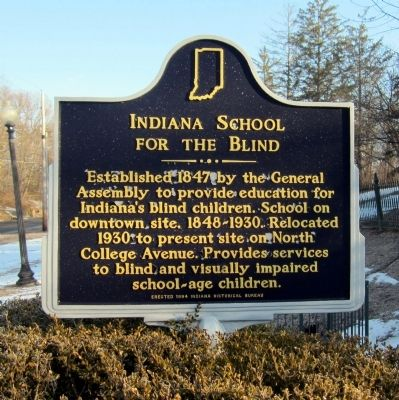 Indiana School for the Blind Marker image. Click for full size.