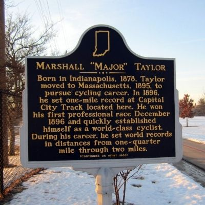 "Marshall ""Major"" Taylor Marker (side 1) image. Click for full size."