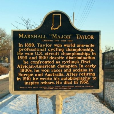 "Marshall ""Major"" Taylor Marker (side 2) image. Click for full size."